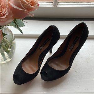 Zara Black Suede Peep-toe Platform size 38 (7.5)